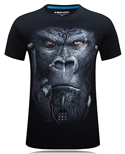 Angcoco Men's Short Sleeve Professional 3D Digital Print T Shirts Chimpanzee