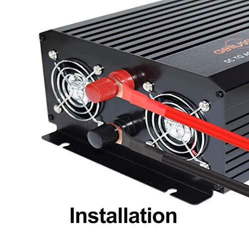 aeliussine 1500 watt Pure Sine Wave Inverter 24v dc to ac 110v 120v with LCD Display Power Inverter for Car Off Grid Solar Power System (1500w24v LCD)