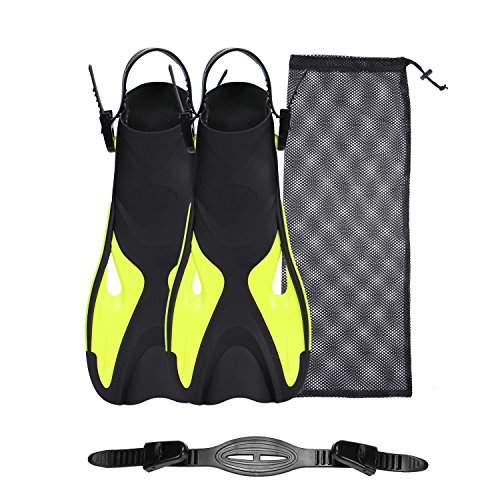 Diving Snorkel Short Fins with mesh Bag and Extra Fin Straps for Travel Snorkeling Swimming, Open Heel Flippers for Men Women (Yellow, L/XL)