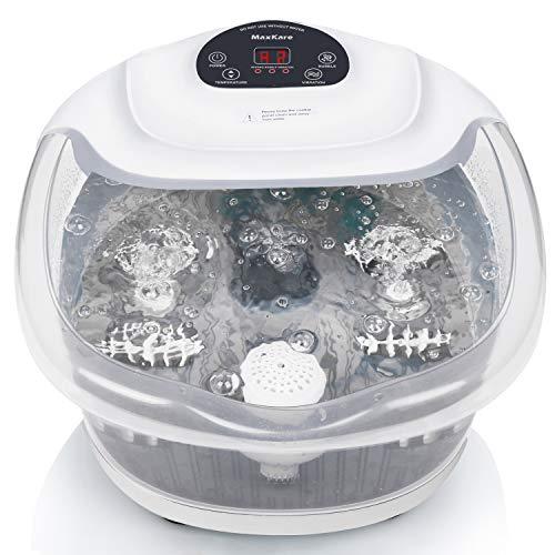 MaxKare Foot para Spa/baño con burbujas y calor para su relajación y rejuvenecimiento (Gris)