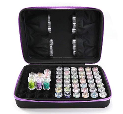 70 ranuras para bordado de diamantes, para manualidades, decoración de uñas, 5D, caja de accesorios para pintura de diamantes, caja de almacenamiento de cuentas (negro + morado)