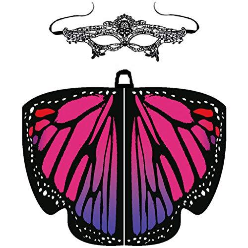 MRULIC Damen SchmetterlingsflüGel Schal Umhang FaschingkostüMe KostüMzubehöR Neuheit Schmetterling Printed Pixie Cosplay Party Karneval Fasching Prinzessin KostüM(A1-Pink)