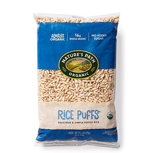 Nature's Path Organic Rice Puffs Cereal, Earth Friendly Package, Non-GMO, 16g Whole Grains, No Added Sugar, 6 Oz, Pack of 12
