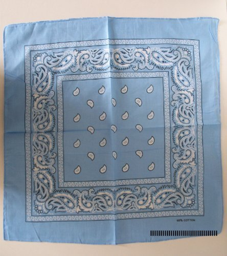 100% cotton Paisley Design Bandana. (Pale Blue) by