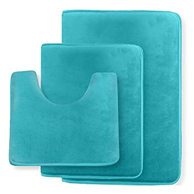 Clara Clark Non Slip Memory Foam Tub-Shower Bath Rug Set, Includes 1 Small Size 17 x 24 in. 1 Large Size 20 X 32 in. 1 Contour Rug 24 x 19 In. - Teal Blue