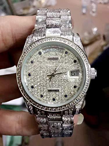 PLKNVT Luxusmarke New Mens Daydate Gold Silber Volldiamanten Uhr Automatik Mechanik Edelstahl Saphirglas SportuhrenSilber