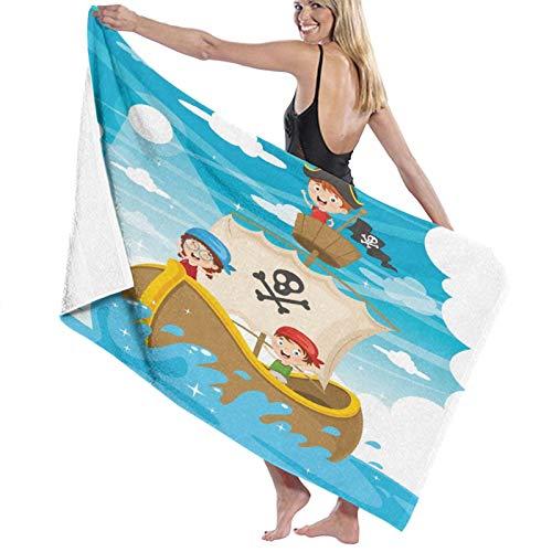 Grande Suave Ligero Microfibra Toalla de Baño Manta,Barco Pirata de Dibujos Animados para niños,Hoja de Baño Toalla de Playa por la Familia Hotel Viaje Nadando Deportes Decoración del Hogar,52' x 32'