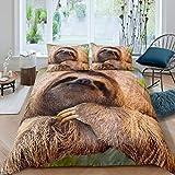 Loussiesd Faultier-Bettwäsche-Set, niedliches Tiermuster, 3D-Faultier-Druck, Bettbezug für Kinder, Wildtier-Thema, Tagesdecke, Raumdekoration, Bettwäsche, Einzelgröße