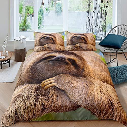 Loussiesd - Juego de cama con diseño de animales en 3D, color marrón perezoso impreso, funda de edredón para niños, diseño de animales salvajes, decoración de habitación, ropa de cama tamaño king