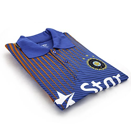 Pro Impact Star India Cricket Men's T-Shirt - Moisture Wicking Mens Polo Shirt - Star India Team Support & Represent - for Teens & Adults Blue