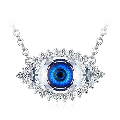 TOJEAN Kette Damen Böse Augen Anhänger, mit Blau Kristallen Swarovski, Schmuck Damen, Geschenke für Frauen
