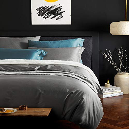 Softta King Size 3Pcs Duvet Cover Sets Hotel Bedding Sets Silky Soft 100% Eygptian Cotton Dark Gray Bedding Collection