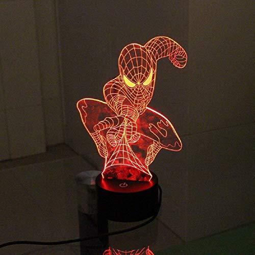 Tipmant 3D LED-Licht 7 Farben Nacht Illusion Schreibtischlampe Wohnkultur Kinderzimmer Dekor (Spider Man)