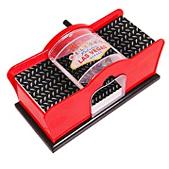 2-Deck Card Shuffler; Manual; Hand Cranked, Made of Sturdy Plastic! Quiet, Easy to Use, Shuffles Up To 2 Decks of Cards Great for Home Blackjack Games, Poker, Texas Hold Em, PLO, Omaha, Baccarat, Magic Tricks and Other Card Games