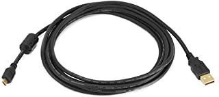 Monoprice 10-Feet USB 2.0 A Male to Micro 5pin Male 28/24AWG Cable with Ferrite Core (Gold Plated) (105459),Black