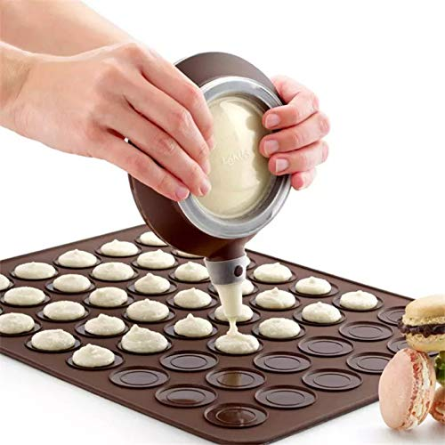 Fewear 2Pc/Set 48 Holes Macaron Silicone Mat Cake Decorating Tools Cake Mold + Dessert Decorating Tips Cream Squeezing Nozzle Tool Set