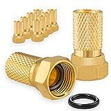 10x F-Stecker 7mm Vergoldet mit Gummidichtung breite Mutter für Koaxial Antennenkabel Sat Kabel BK Anlagen HB-Digital