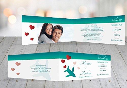 Kartenparadies Hochzeitskarte Kontur Einladung Flug ins Glück, hochwertige Einladung zur Heirat inklusive Umschläge | 80 Karten - (Format: 215x105 mm) Farbe: Türkisblaukräftig