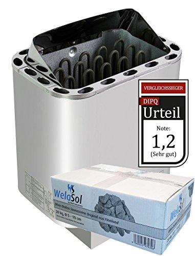 WelaSol Edelstahl Saunaofen Next von 8 kW | für finnische Sauna von 7-13 m³ | geeignet für externe Steuerung bis 9 kW d.h. ohne integrierter Steuerung | mit WelaSol Saunasteine