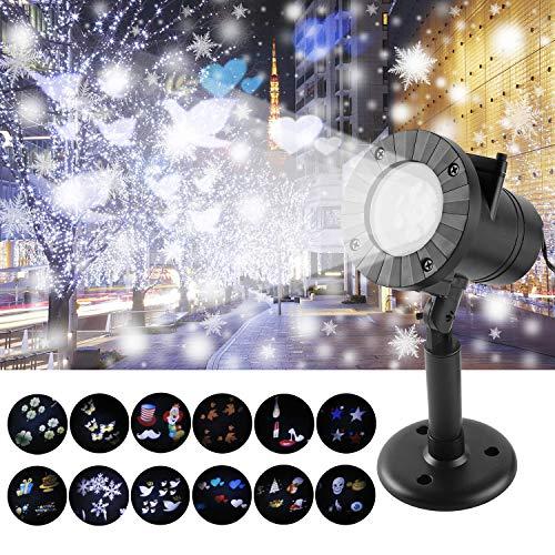 Luces de Navidad LED, Lámpara de Proyector con 12 Patrones Cambiables Lámpara de Proyección de Exterior IP65 Impermeable Efecto de luz Iluminación para Fiesta de Cumpleaños Fiesta Halloween Navidad