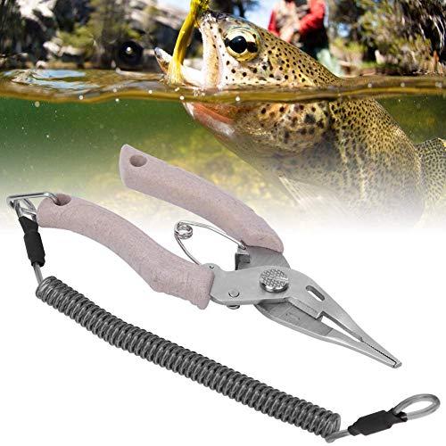 【ó 】Tijeras de Pesca Tijeras para señuelos de Pesca, Herramienta cortadora de sedal, Acero Inoxidable anticorrosión Caqui para Pesca en el mar/Pesca Fresca