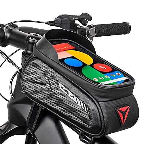 NC Borsa Telaio Bici, Impermeabile Borsa da Manubrio per Biciclette con TPU Touchscreen, Borsa Porta Cellulare Bici Telefono MTB, Bici Borse Bicicletta Telaio Anteriore per Telefoni sotto 7 Pollici
