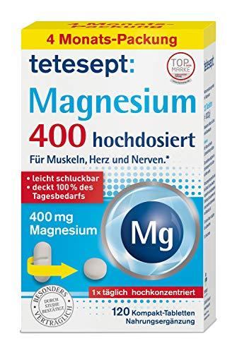 tetesept Magnesium 400 – Nahrungsergänzungsmittel für Muskeln, Herz und Nerven – besonders leicht schluckbar - 4 Monats-Vorteilspack – 1 x 120 Kompakt-Tabletten