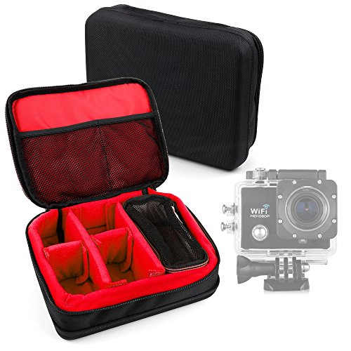 DURAGADGET Borsa Professionale Nera con Interno Rosso per Action Camera Excelvan Q3 / Q5 / DV Y8 / Elephone Ele Cam Explorer – Imbottita – con Scompartimenti Regolabili