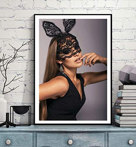 Zszy prachtig masker van kant Lady schilderij op canvas meisjes konijntje muurkunst voor woonkamer slaapkamer poster 50 x 70 cm x 1 vintage zonder lijst
