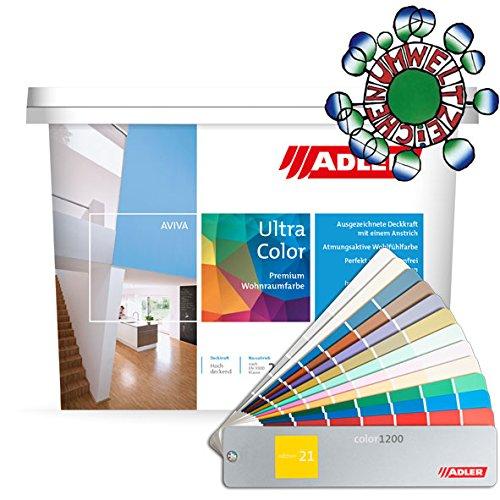 ADLER Ultra-Color Wandfarbe - Volltonfarbe und Abtönfarbe in 100+ Farbtönen - Bordeaux C12 009/2 Rot 1 l Atmungsaktiv, Hochdeckend, Lösungsmittelfrei
