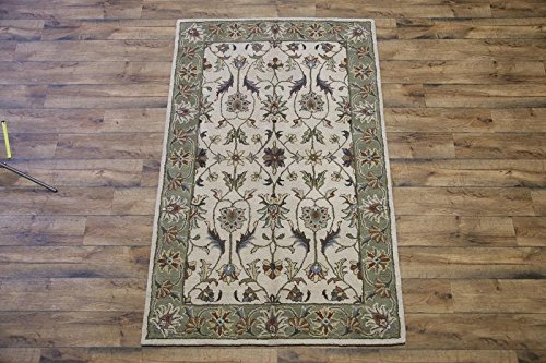 Hand-Tufted Classic Floral Ivory/Sage Green Oushak Oriental 5X8 Wool Area Rug (8' 2'' X 5' 2'')