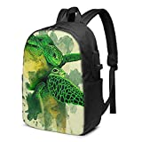 CHENWE Gliding The Green Trendy Travel USB Backpack,17 Inch Computer Business Backpacks Student Backpack Casual Hiking Daypack