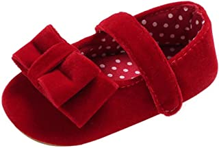 Weixinbuy Toddler Baby Girl's Soft Soled Mary Jane Flats Anti Slip Bowknot Princess Shoes