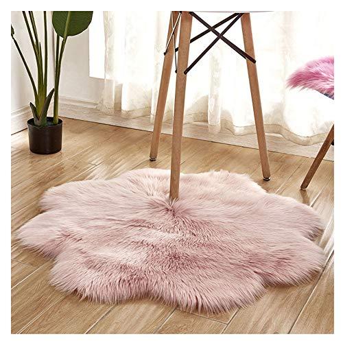 DaiHan Alfombra en Forma de Flor -Oveja de Piel sintética Felpudo Alfombra de imitación Piel sintética para salón Dormitorio baño sofá Silla cojín Pink diámetro 90cm