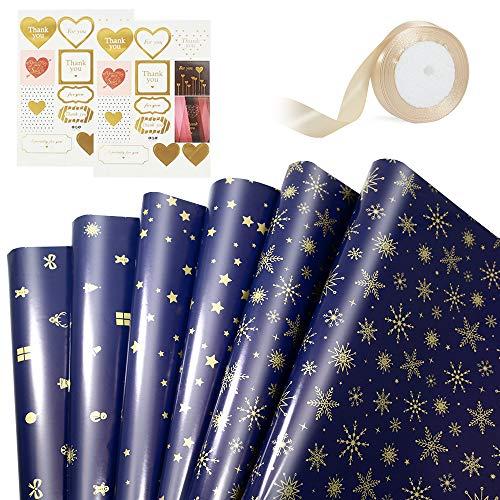 Juego de papel de regalo, 6 hojas de papel de regalo dorado azul, 2 hojas de pegatinas, 1 rollo de cinta dorada para cumpleaños boda acción de gracias Navidad-Azul&Dorado