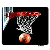 Nicokee Sport Gaming Mousepad Basketball with Hoop Sport Black Mouse Pad Rectangle Mouse Mat for Computer Desk Laptop Office 9.5 X 7.9 Inch Non-Slip Rubber