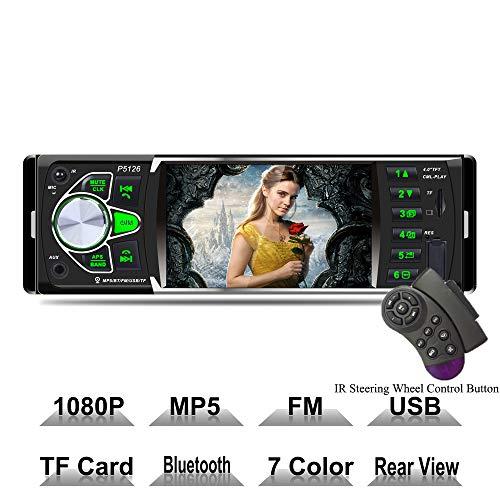 XISEDO Bluetooth Radio Voiture, Écran HD de 4 pouces 1 Din Autoradio Voiture 12V Autoradio Lecteur MP5 compatible Bluetooth/ USB / SD/ FM, entrée auxiliaire/ Caméra de vision arrière/ Rétro-éclairage 7 couleurs