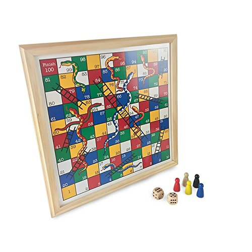 Snakes and Ladders Wooden Board Game Ideal For 2 - 6 players Suitable For Years 3+