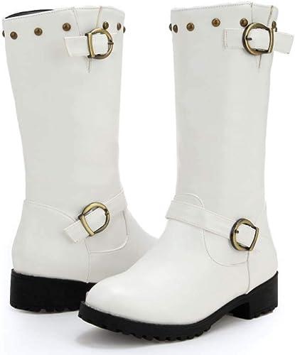 HYLFF Femmes Cuir Chevalier Boucle Les Les dames Faux Bottes Plat Martin Chaussures Bottines,blanc,42EU