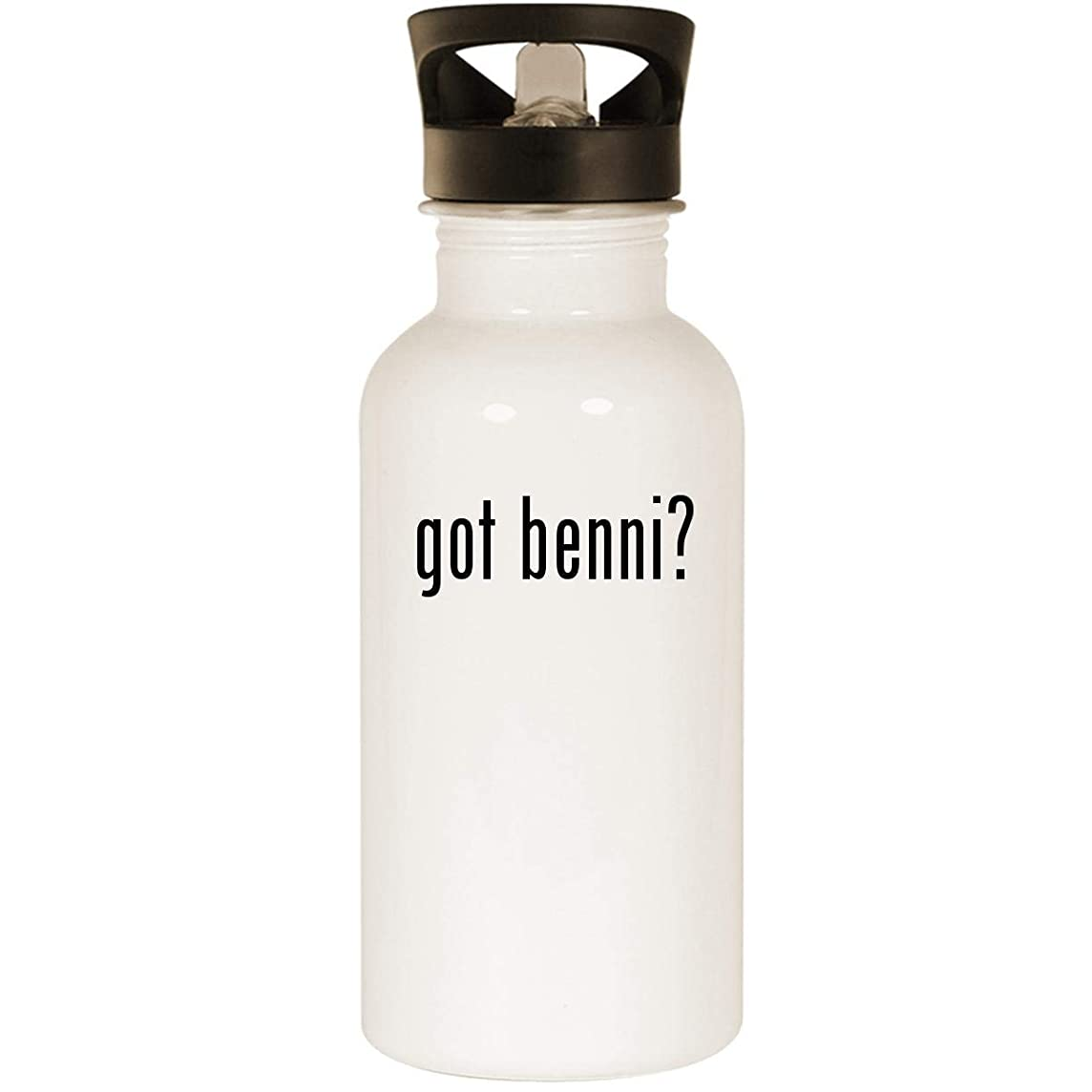 got benni? - Stainless Steel 20oz Road Ready Water Bottle, White