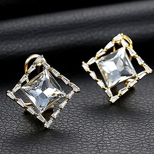 AZPINGPAN Pendientes de botón de Cristal Cuadrados geométricos de Temperamento Retro, Pendientes de Plata de Ley 925, Piercing hipoalergénico, joyería a Juego de Moda para Mujer