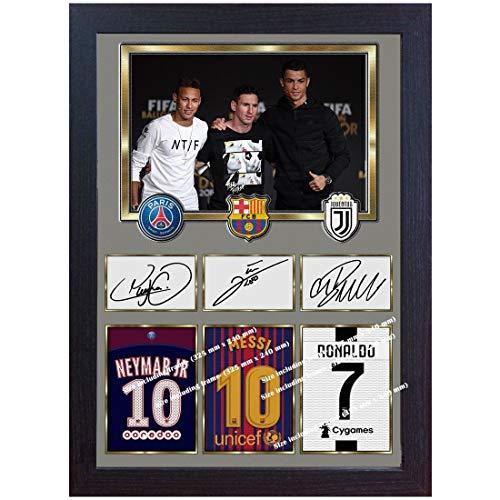 SGH SERVICES Gerahmtes Poster Neymar Messi Ronaldo Juventus Autogramm Foto Druck Poster Vordruck Foto Druck gerahmt MDF Rahmen Fotodruck
