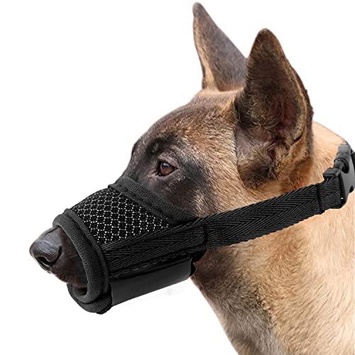 M MUNCASO Bozal suave para perro que evita morder, ladridos y masticar, con malla de nailon transpirable ajustable para perros pequeños, medianos y medianos (L, negro)