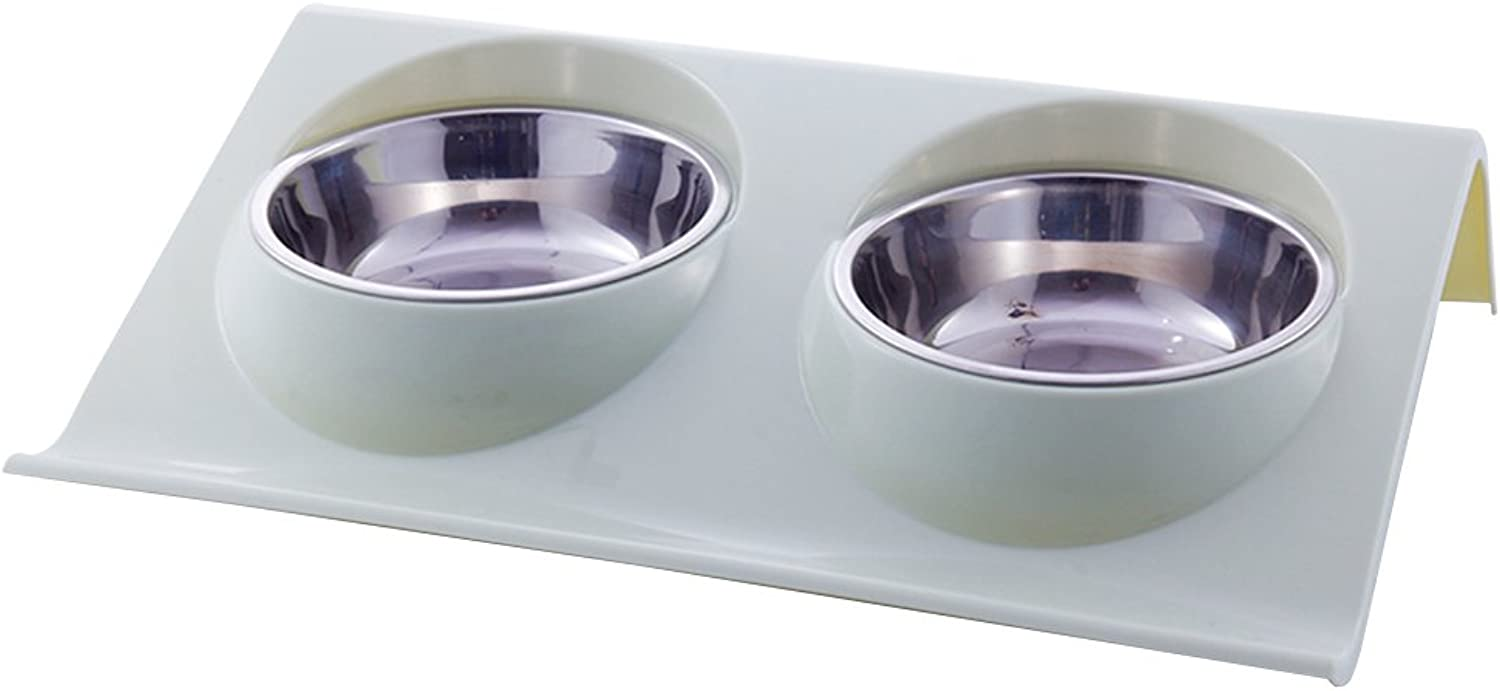 Double Pet Stainless Steel Bowl Predection Spine Pet Bowl Cat Food Bowl Plastic Dog Rice Bowl Cat Food Bowl Pet Supplies (color   Green)
