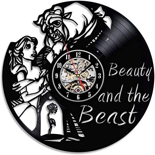 Reloj de pared de vinilo – Reloj de pared de vinilo para miembros de la familia Happy Bierthday Party regalo para él ella mujer hombre 12 pulgadas (león y niña)