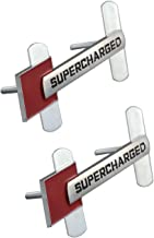 2pcs Supercharged Emblems Badge 3D Nameplate Fiber Metal Car Stickers Replacement for Audi TT A1 A3 A4 A5 A6 A7 A8 Q3 Q5 Q7 S4 S6 S5 RS5 S6 (Chrome/red)