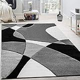 Paco Home Créateur Tapis Moderne Géométrique Motif Découpe des Contours en Noir Blanc, Dimension:160x230 cm