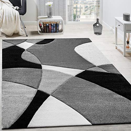 Paco Home Alfombra De Diseño Moderna Estampado Geométrico Contorneada En Negro Blanco, tamaño:60x110 cm