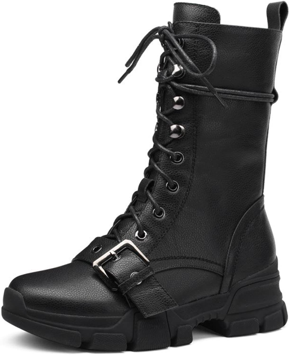 Nine Seven Genuine Leather Women's Closed Round Toe Mid Heel Mid-Calf Boots - Graceful Handmade Comfortable Walking Boots