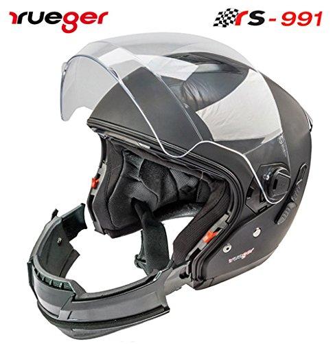 rueger Multifunktionshelm Jethelm/Integralhelm RS-991 Matt Schwarz mit zusätzlichem klappbarem Sonnenvisier. Mit neueste ECE 22/05 Größe S (55-56)